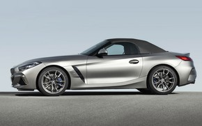 Picture grey, BMW, profile, Roadster, BMW Z4, M40i, Z4, the soft top, 2019, G29