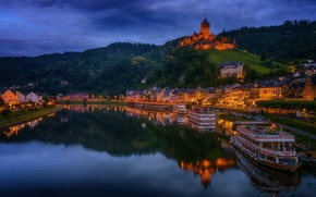 Picture the city, river, castle, hills, building, Marina, home, the evening, Germany, lighting, Cochem, Moselle
