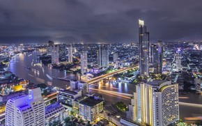 Wallpaper landscape, night, the city, river, beauty, Thailand, Bangkok, Thailand, Bangkok