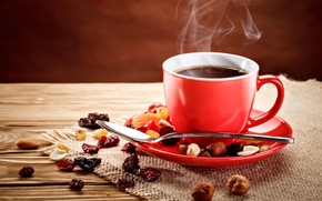 Picture coffee, spoon, mug, nuts, red, spices, raisins