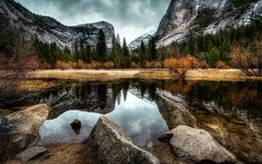 Picture autumn, forest, water, clouds, trees, mountains, stones, rocks, CA, USA, Yosemite, the bushes, Yosemite National …