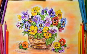 Picture Figure, Pencils, Flowers, Pansy