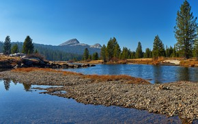 Picture forest, the sky, water, the sun, trees, mountains, lake, stones, rocks, USA, Yosemite, Yosemite National …