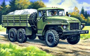 Picture USSR, car, cargo, four-wheel drive, military use, Ural-375Д