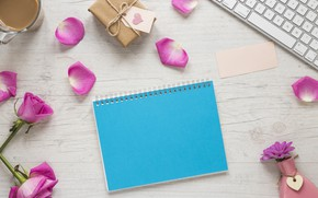 Picture gift, coffee, petals, Notepad