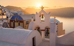 Picture sea, the sun, landscape, mountains, dawn, island, home, morning, Santorini, Greece, bell, the bell tower, …