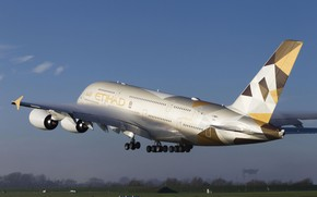 Picture The plane, Liner, A380, The rise, Airbus, Etihad Airways, The Effect Of Prandtl — Glauert, …