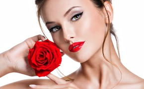Picture girl, portrait, makeup, red, beautiful, face, model, Valua Vitaly