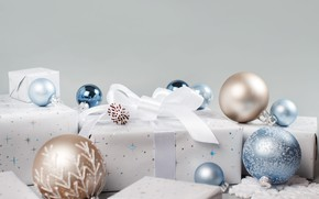 Picture winter, balls, holiday, box, gift, balls, blue, Christmas, gifts, New year, white, bow, light background, …