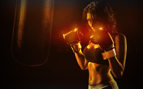 Picture photo, Girl, Sport, Gloves, Hands, Boxing, Belly, Boxer