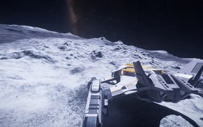 Picture Space, Spaceship, the surface of the planet, Elite: Dangerous
