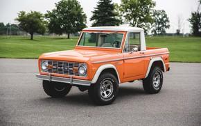 Picture orange, Ford, Bronco, before, Half Cab