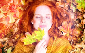 Picture photo, Girl, Autumn, Leaves, Face, Hands, Red