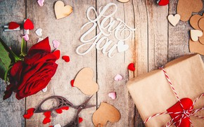 Picture love, gift, the inscription, roses, heart, Valentine's day