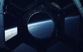 Picture Station, Planet, Space, View, The window, Surface, Art, Space, Art, Spaceship, Planet, Surface, Station, View, …