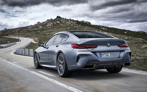 Picture clouds, coupe, BMW, back, Gran Coupe, 8-Series, 2019, the four-door coupe, Eight, G16, steel gray