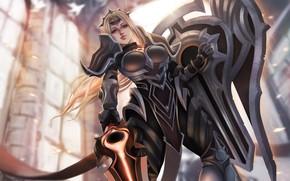 Picture girl, fiction, robot, League of Legends, Leona