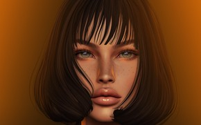 Picture eyes, look, girl, face, rendering, lips