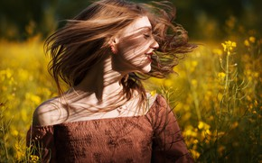 Picture field, girl, joy, flowers, hair, spring, rape