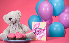Picture gift, Bear, Holiday, March 8, cakes, Women's day