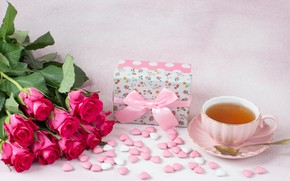 Picture gift, tea, roses, Cup, hearts, pink