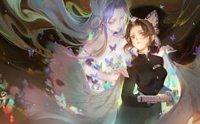 Picture girl, butterfly, Demon Slayer Kimetsu no Yaiba, The Blade Cleaves Demons