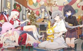 Picture girls, new year, Christmas, Honkai Impact 3rd