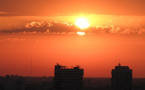Picture the sun, clouds, dawn, roof, antenna, Minsk