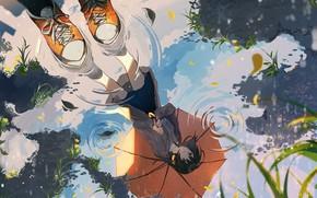 Picture girl, reflection, umbrella, puddle, omutatsu
