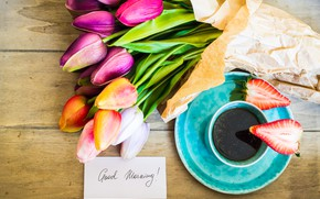 Picture coffee, bouquet, morning, tulips