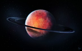 Picture Stars, Planet, Space, Fantasy, Ring, Art, Stars, Space, Art, Planet, Fiction, The red planet, Red …