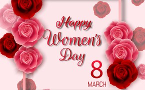 Picture roses, congratulations, postcard, women's day, 8-Mar