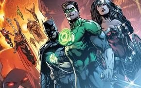 Picture fantasy, Wonder Woman, Batman, comics, Green Lantern, Superman, artwork, superheroes, fantasy art, DC Comics