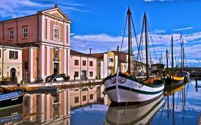 Picture the city, home, ships, Italy, channel, promenade, Emilia-Romagna, Cesenatico, Emilia Romagna, Cesenatico, La chiesa sul …