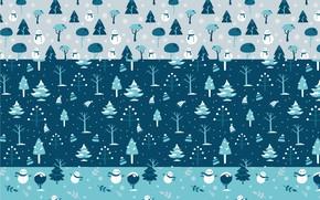Picture winter, forest, background, texture, snowmen