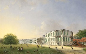 Picture oil, picture, canvas, 1836, Виллем Трост, Willem Troost, Дворец Бейтензорг в Батавии...