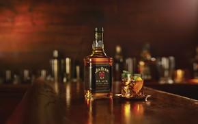 Picture glass, bottle, the evening, bar, alcohol, whiskey, Bourbon, Jim Beam Black, Черный Бурбон