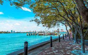 Picture boats, pierce, promenade, Florida, Miami Beach, Miami Beach, West Avenue