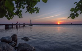 Picture the sky, water, landscape, nature, river, stones, pier, white night