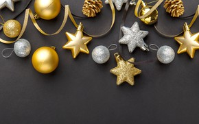 Picture decoration, gold, balls, New Year, Christmas, golden, black background, black, Christmas, balls, background, New Year, …