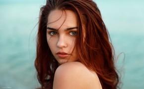Picture girl, photographer, blue eyes, model, redhead, Denis Lankin