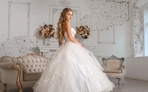 Picture look, girl, flowers, pose, room, hair, dress, beautiful, wedding