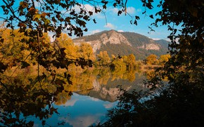 Picture autumn, forest, the sky, clouds, trees, mountains, branches, reflection, blue, rocks, shore, the slopes, view, …