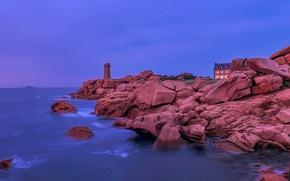 Picture stones, rocks, coast, lighthouse, house