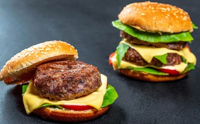 Picture cheese, tomato, Patty, buns, burgers