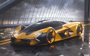 Picture rendering, Lamborghini, supercar, The Third Millennium