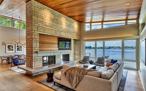 Picture Villa, interior, fireplace, living room, dining room, by Mathison, Silver Lake East