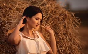 Picture girl, decoration, earrings, brunette, hay, blouse, top, Anna Kuchinsky