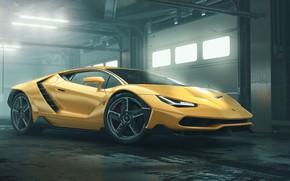 Picture Auto, Yellow, Lamborghini, Machine, Car, Art, Render, Design, Supercar, Supercar, Sports car, Sportcar, Lamborghini Centenary, …