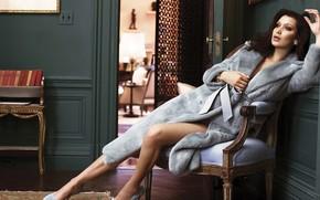 Picture look, girl, room, model, rose, coat, legs, Bella Hadid